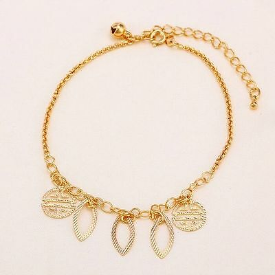 """9K 9ct Yellow """"Gold FILLED"""" ANKLE CHAIN Charms & Bell ANKLET ADJUST. 11.4"""" ,Gift"""