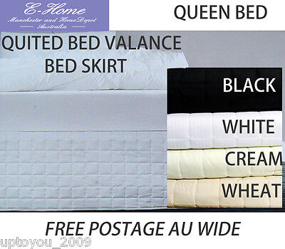 Quilted Valance Bedskirt Queen SIZE 4 COLOURS FREE POSTAGE