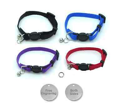Cat Collar, With Bell, Quick Release With Free Engraved 25mm Nickel ID Tag P&P