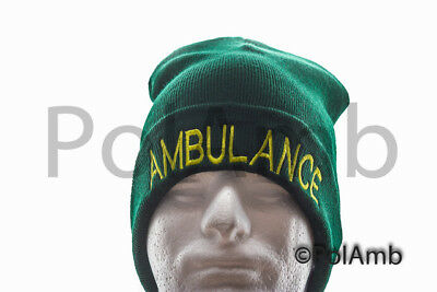 Ambulance Green Woolly Beanie Hat EMT Paramedic St Johns Medic & First Responder