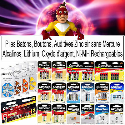 Piles LR06 LR03 LR14 LR20 6LR61 3LR12 AUDITIVES - Alcaline Lithium Rechargeables