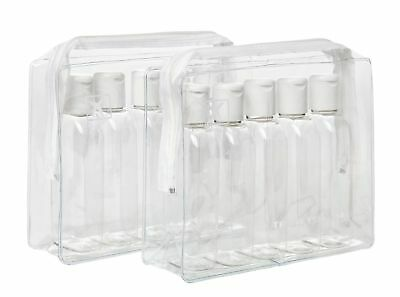 2 x TOILETRIES TRAVEL BOTTLES PACKS 10 x 100ML Clear Bottles - Security Approved