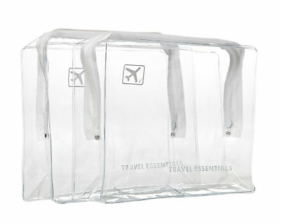 2x holiday airport clear plastic travel Toiletry cosmetic hand luggage wash bag
