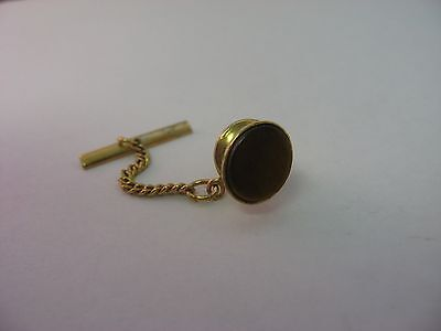 Very Nice Dark Tiger's Eye, Nice Cut, Vintage Mens Tie Tack Lapel Pin Jewelry