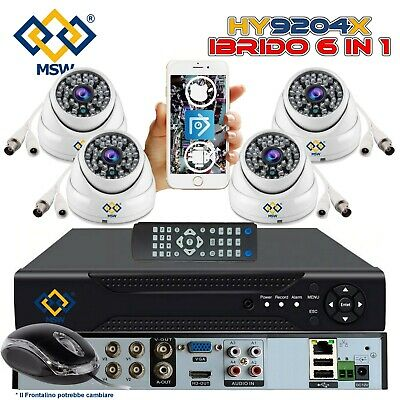 Kit DVR NVR 4 Canali 3Mpx 1080P IBRIDO 4 Telecamere Dome 3 Mpx 1080P P2P 5 in 1