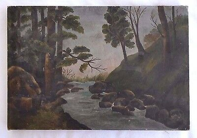 American Primitive Landscape O/C Painting, Signed EHS Circa 1900