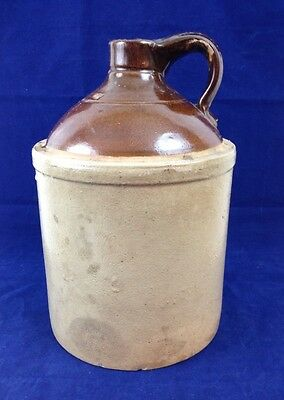 "Antique 11"" Glazed STONEWARE Pottery Whiskey/Water/Moonshine JUG, Brown & Tan"
