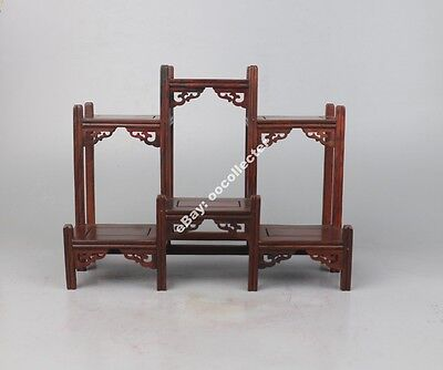"""Chinese suanzhi wood rosewood front and back curio stand display shelf 9.3""""L"""