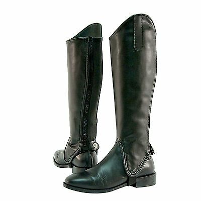 New Shires Adults Synthetic Leather Gaiters / Half Chaps - Black