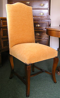 Walnut Dining Chair / Side Chair Gold Fabric Antique Reproduction NEW