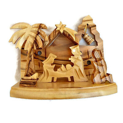 Olive Wood Hand Carved Free Standing Nativity Scene with Bell Christmas Holyland