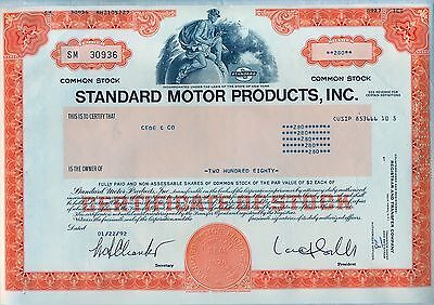 Standard Motor Products, Inc. Stock Certificate New York