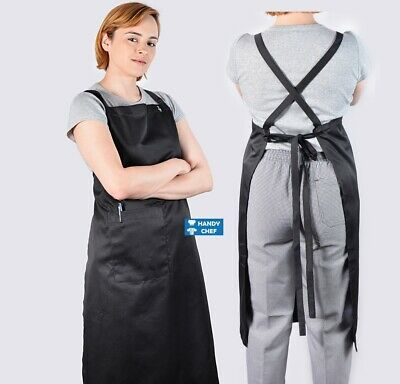 Chef Cross Over Black Bib Aprons with Pocket-see handychef for chef jackets,pant