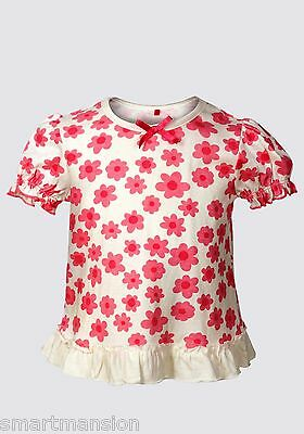 Girls' Pure Cotton Kid's Short Sleeve Floral Print Top T-Shirt New Age 1-3 Years