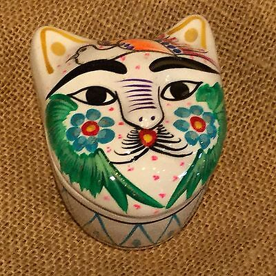 Mexican Nahua Clay Pottery Cat Face Box Hand Painted Folk Art Collectable White