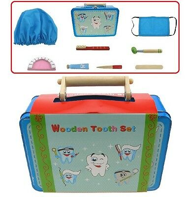 Wooden Dentist Teeth Pretend Role Play Set/Kit Educational Toy (Medical)Tin Case