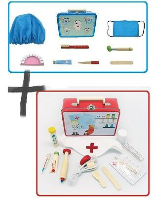 2 pk Wooden Doctor AND Dentist Pretend Role Play Set/ Kit Educational Tin Case