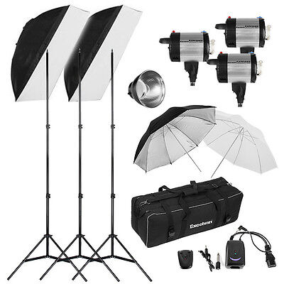 900W Photo Photography Studio Flash Strobe Light Kit 3x300W Heads Umbrella Set