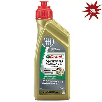 Castrol Syntrans Multivehicle 75W-90 Fully Synthetic MTF 75W90- 3 Litres: 3 x 1L