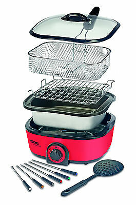 1300W Electric Red 8-in-1 Multi Cooker Boils Steams Grills by Cooks Professional