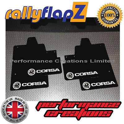 rallyflapZ to fit VAUXHALL CORSA C (00-07) Mudflaps Black Logo White 4mm PVC