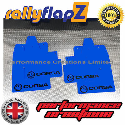 rallyflapZ to fit VAUXHALL CORSA C (00-07) Mudflaps Blue Logo Black 4mm PVC