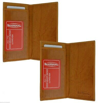 Checkbook Cover Plain Set Of 2 Tan Genuine Leather New Great Gift Idea 1