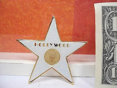 Hollywood Star Souvenir Glittery Sparkle Magnet 2.2 Inches White Color