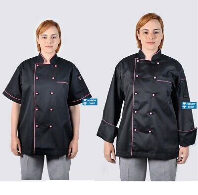 Black Chef Jackets with Pink Piping - See Handy Chef Store for Chef Pants, Shoes