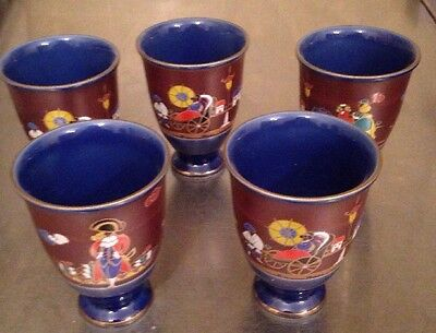 """5 Asian Painted Porcelain China Cups Signed Scene Ship Rick Shaw 4"""" Vintage"""
