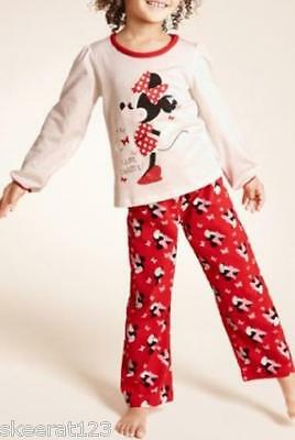 New M&S Cute Red Cream Minnie Mouse Pyjamas Butterflies Age 18m 2 5 Years SALE!