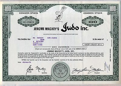 Jerome Mackey's Judo Inc. Stock Certificate New York Karate