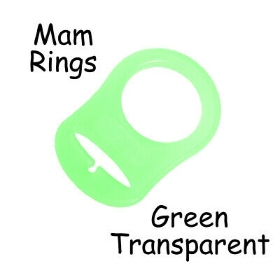 100 MAM Ring Button Style Pacifier Clip Adapter - Green Transparent Silicone