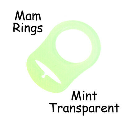 100 MAM Ring Button Style Pacifier Clip Adapter - Mint Transparent Silicone