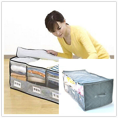 Large 3 Cells Charcoal Clothes Sweaters Blankets Closet Organizer Storage Bag