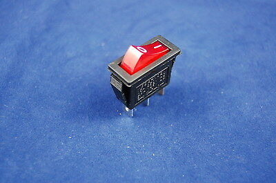 5Pcs Red Light Illuminated Rectangele 2 Position Rocker Switch 3 Pin 12V AC/DC