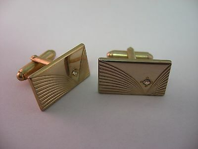Grooved Gold Tone Clear Jewels Vintage Mens Cufflinks Jewelry