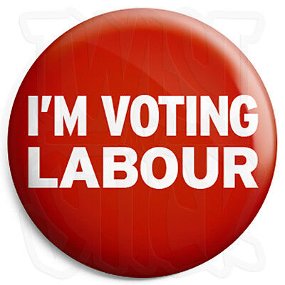 """Labour Party 25mm 1/"""" Pin Button Badge General Election Political Vote Rose Red"""