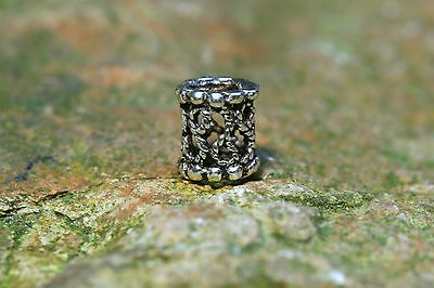 Beard Bead Silver Bead small knurled with rubber 925 Sterling Silver Hair Bead
