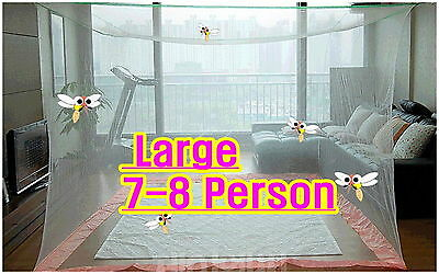 Large  Portable Insect Mosquito Fly Bug Net Screen Bed Indoor Outdoor Camp White