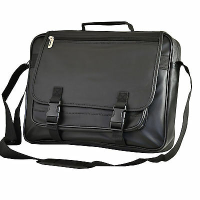 Faux Leather Business Laptop Computer Case Bag Fits up to 15.6 inch (Black)