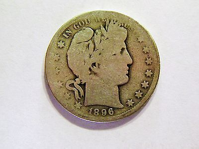 1896-S Vintage Silver Barber Half Dollar, Better Key Date Coin for a collection