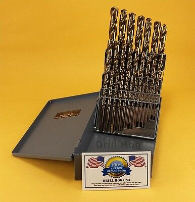 29 Pc Cobalt Drill Bit Set M42 Cobalt Twist Drills Lifetime Warranty Drill Hog®