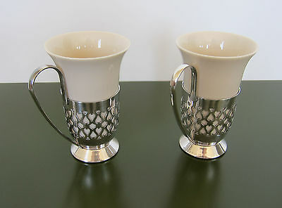 Set of 2 GORHAM SILVERPLATE CUPS & HOLDERS Porcelain Silver E P YC 178
