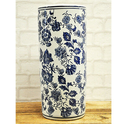 Blue and White Floral Pattern Ceramic Umbrella Stand Stick Holder 18""