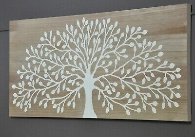 Natures Gift-Carved Tree Timber Wall Art Panel-White-Natural Wood Background