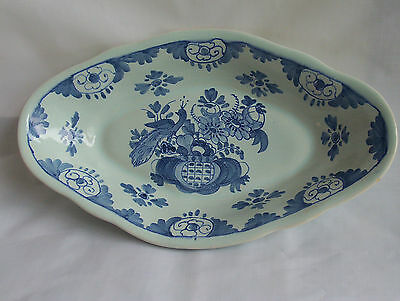 Oud Delft blue & white oval serving dish flowers and peacock design Dutch