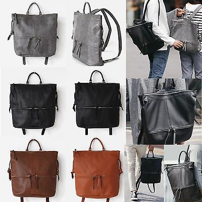 Korea Fashion Simple Backpack School Travel Business Bag Men Women Faux Leather