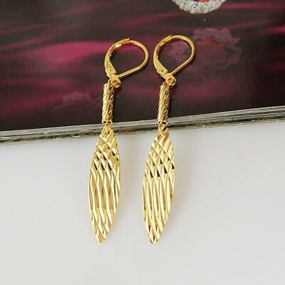 Free Shipping! Womens  9K Yellow Gold Filled Leaf Stylish Earrings Drop M-E63