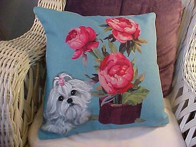 Maltese Handpainted Pillow Roses Super!